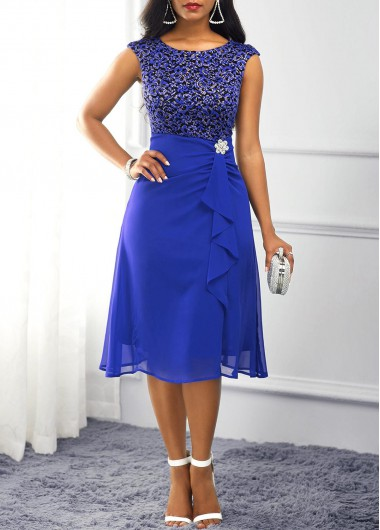 Cocktail Party Dress Royal Blue Lace Panel Ruffle Trim Dress - XL