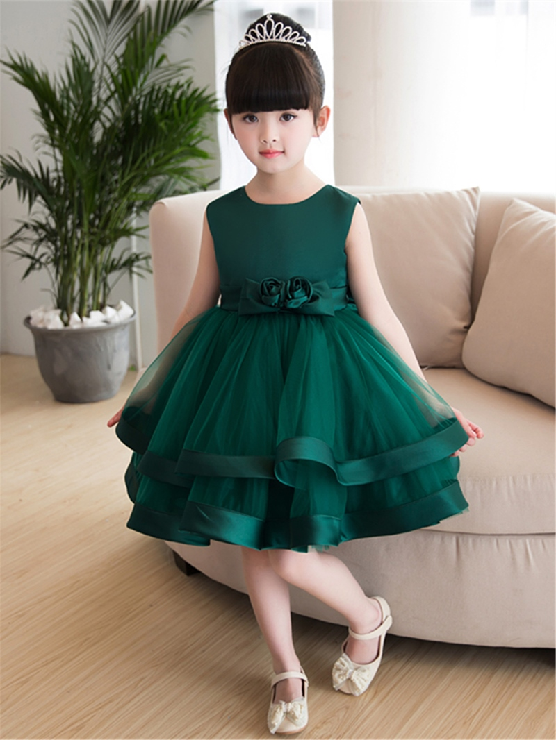 Ericdress Tiered Flowers Knee Length Girl Party Dress