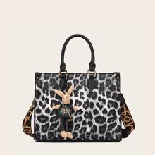 Tragetasche mit Leopard Muster und Taschendekor mit Karikatur Design
