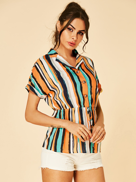 YOINS Multi Stripe Lapel Collar Drawstring Waist Blouse