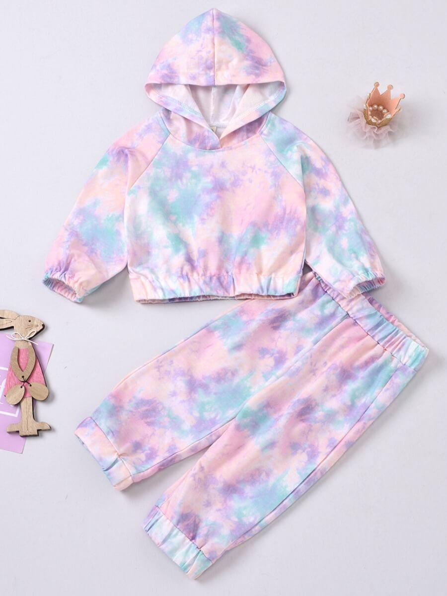 LW Lovely Trendy Hooded Collar Tie-dye Light Purple Girl Two-piece Pants Set