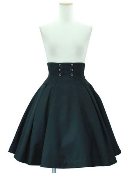 Milanoo Faldas Lolita SK Classic Lolita SK con cordones y algodon negro