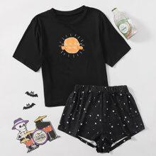 Schlafanzug Set mit Galaxie und Buchstaben Grafik