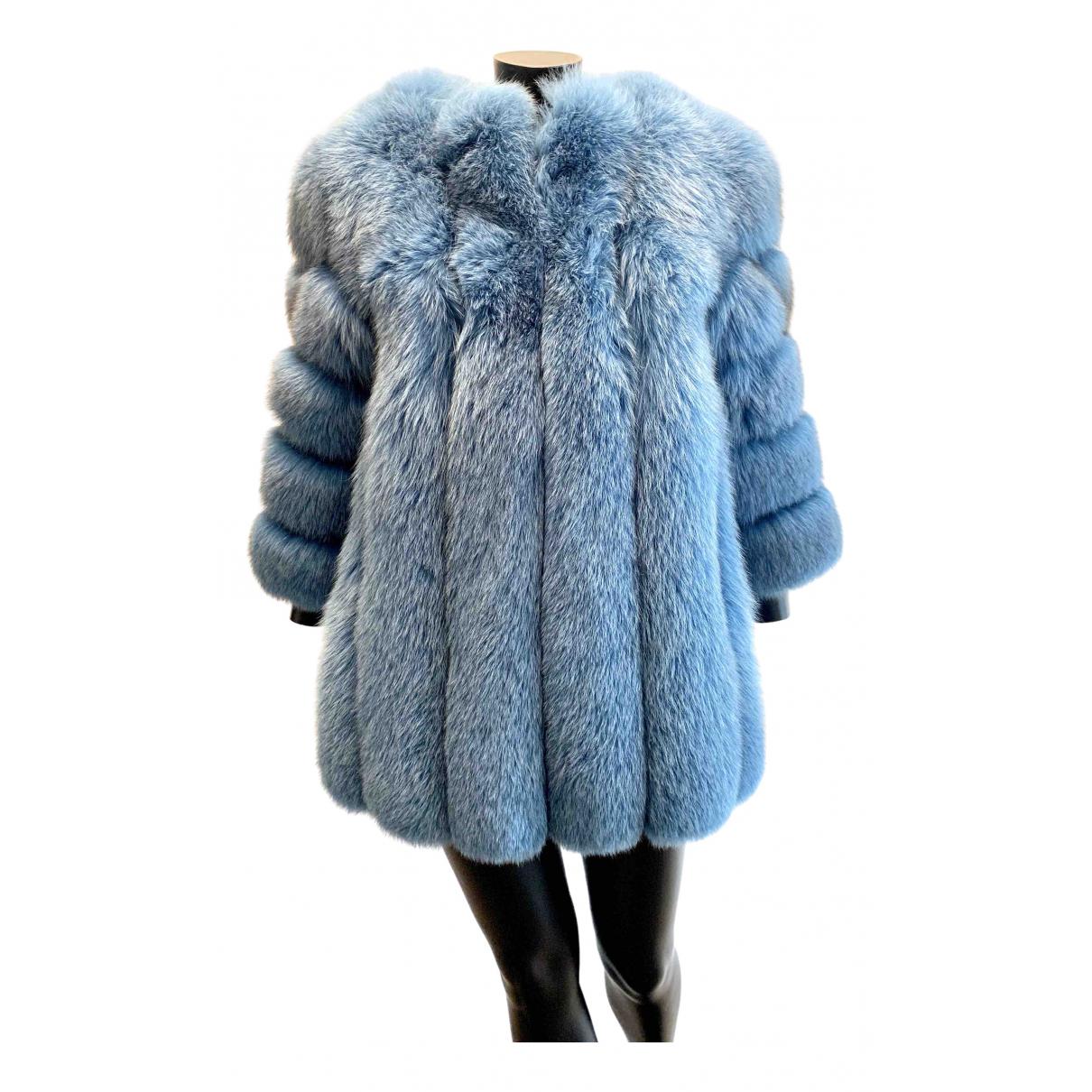 - Manteau   pour femme en renard - turquoise