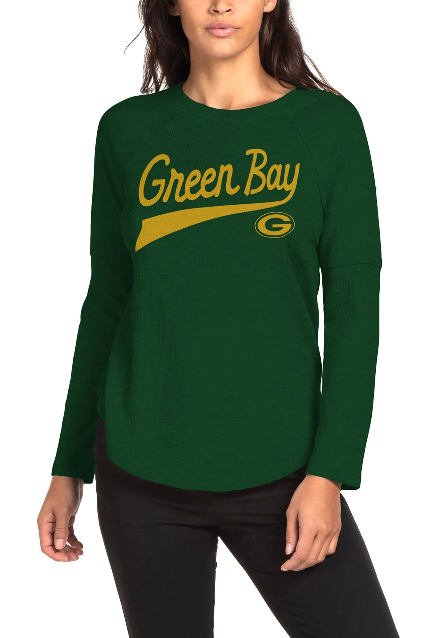 Super Soft Green Bay Packers Womens Hunter Green Thermal Tee