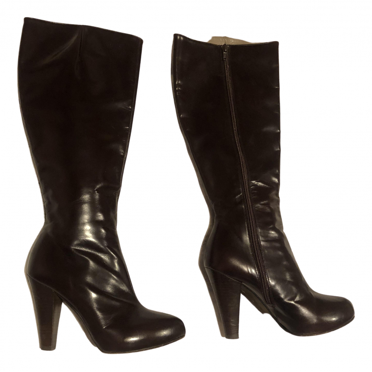 Tommy Hilfiger \N Brown Patent leather Boots for Women 36 EU