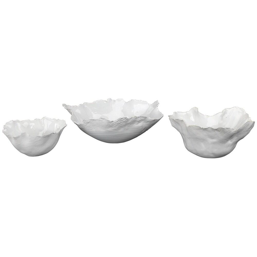 "Set of 3 White Fleur Ceramic Bowls 9.75"" (White)"