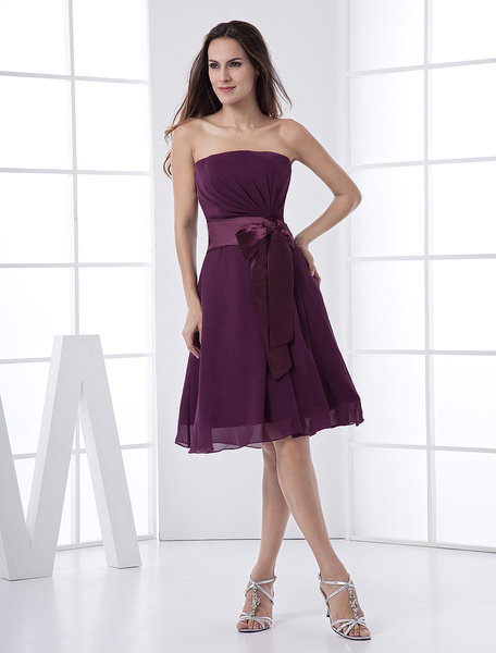 Milanoo Grape Strapless Sash Satin Chiffon Summer Homecoming Bridesmaid Dress