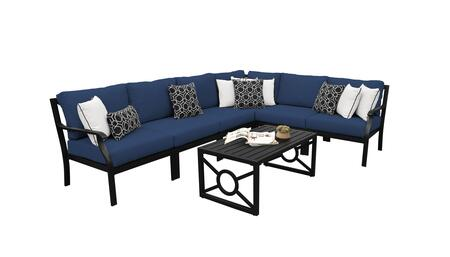 MADISON-07b-NAVY Kathy Ireland Homes and Gardens Madison Ave. 7 Piece Aluminum Patio Set 07b with 1 Set of Snow and 1 Set of Midnight
