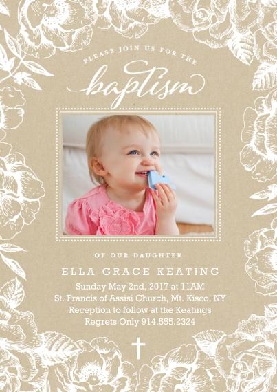 Baptism Invitations 5x7 Cards, Premium Cardstock 120lb, Card & Stationery -Baptism Floral