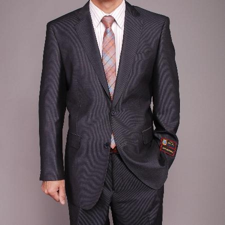 2 Button Gray Microstripe Suit Mens Cheap