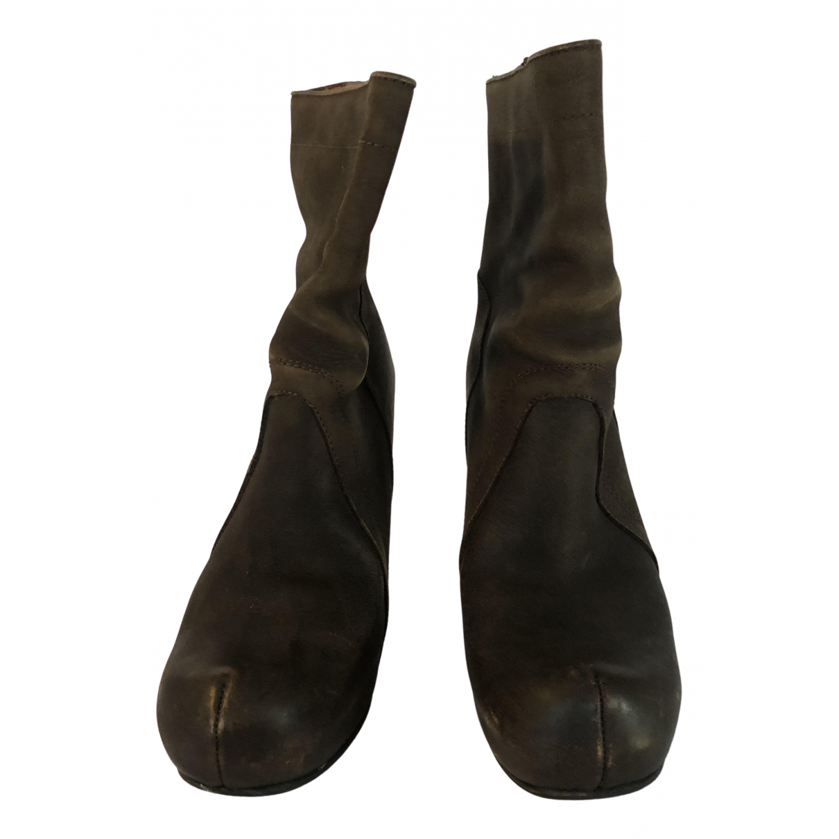Rick Owens N Brown Leather Ankle boots for Women 38 EU