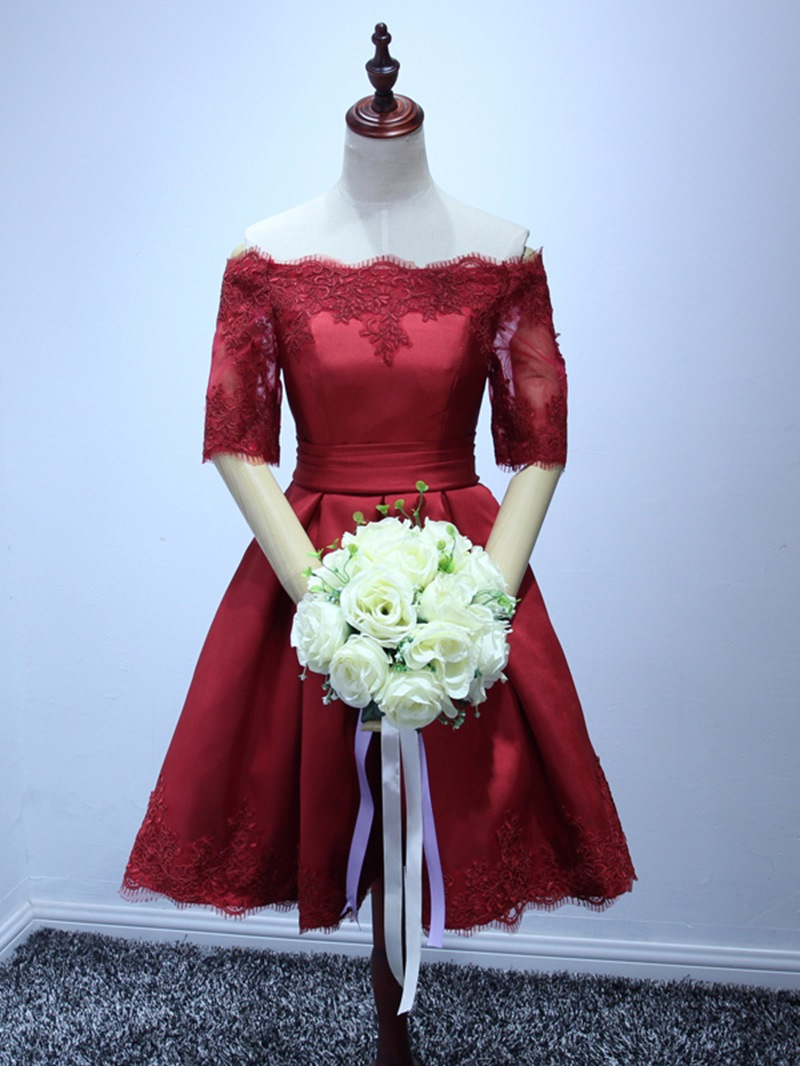 Ericdress Strapless Beading Bowknot Lace Cocktail Dress