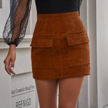 Pocket Zipper Back Corduroy Mini Skirt