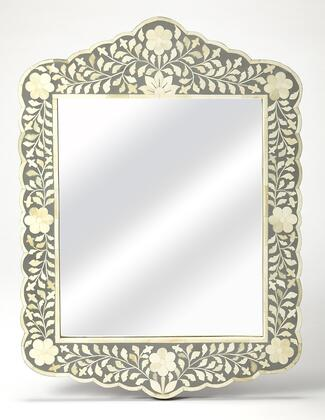 Vivienne Collection 3451321 Wall Mirror with Traditional Style  Rectangular Shape  Medium Density Fiberboard (MDF) and Mango Wood Solids in Grey Bone