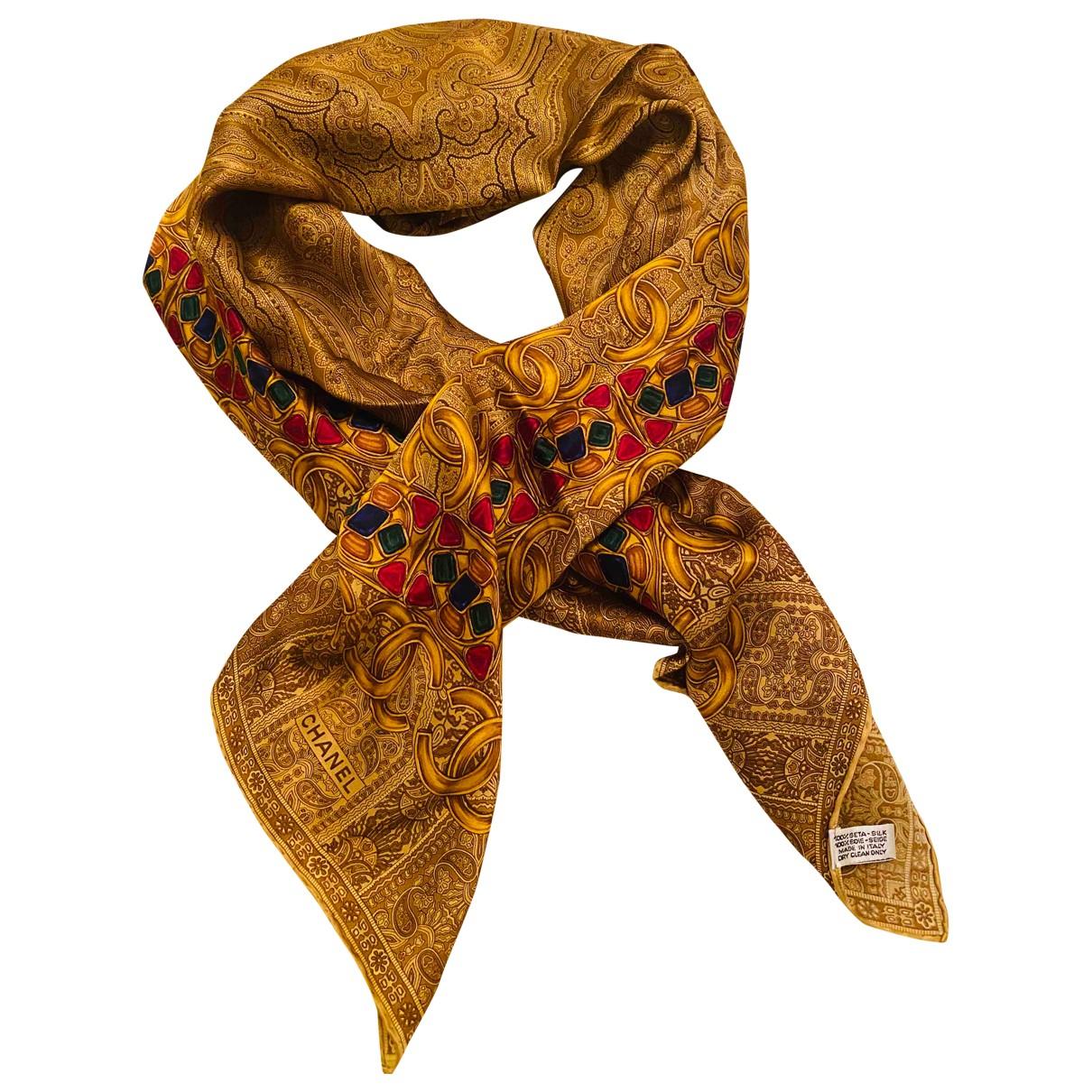 Chanel \N Gold Silk scarf for Women \N