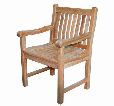 Classic Collection DN-3451 Armchair with Teak Construction  Stainless Steel and Brass Hardware  Mortise and Tenon Joinery in Honey