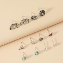 6pairs Geo Decor Stud Earrings