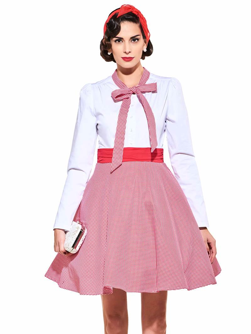 Bow Collar Long Sleeve Vintage Dress