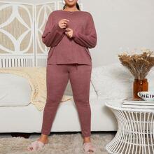 Conjunto de pijama top de hombros caidos con pantalones