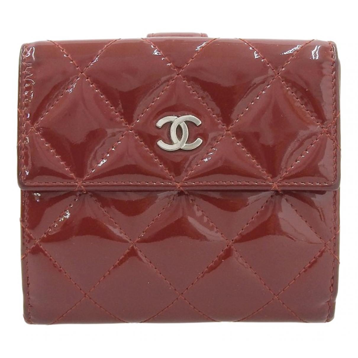 Chanel - Portefeuille   pour femme en cuir verni - jaune