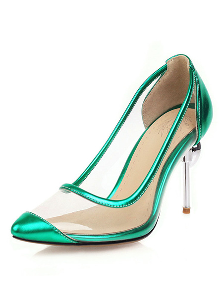 Milanoo Bombas transparentes para mujer Zapatos de tacon de aguja transparentes Tacones de aguja Tallas grandes