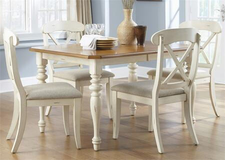 Ocean Isle Collection 303-CD-O5RLS 5-Piece Dining Room Set with Rectangular Dining Table and 4 X-Back Side Chairs in Bisque with Natural Pine