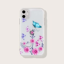Butterfly & Flower Print iPhone Case