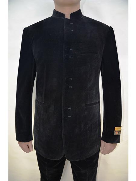 Mens Eight Button Mandarin Banded Collar Black Velvet Suits