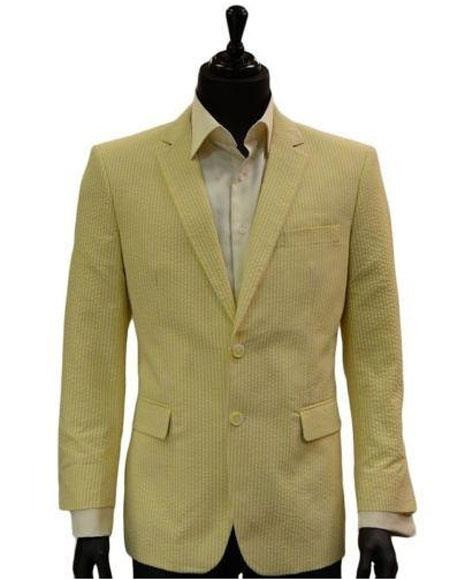 Mens Two Button Yellow White Classic Seersucker Trending Formal Blazer