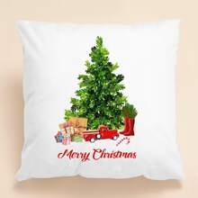 Kissenbezug mit Weihnachtsbaum Muster ohne Fuelle