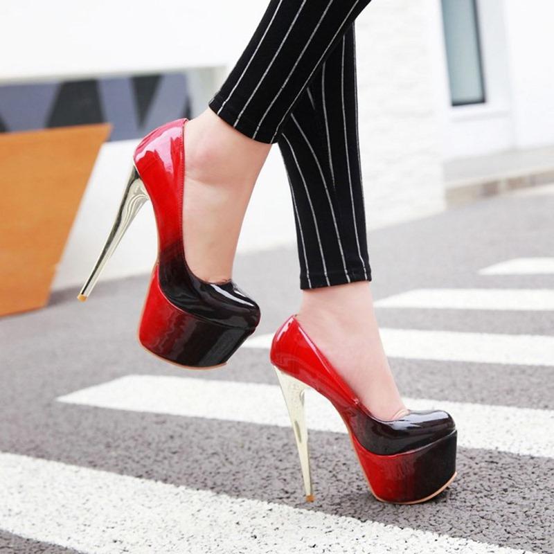 Ericdress Stiletto Heel Square Toe Platform Gradient Thin Shoes