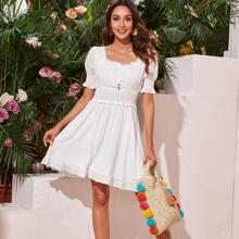 Tie Front Shirred Waist Swiss Dot Milkmaid Dress