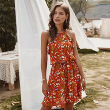 Floral Print Halter Ruffle Trim Dress