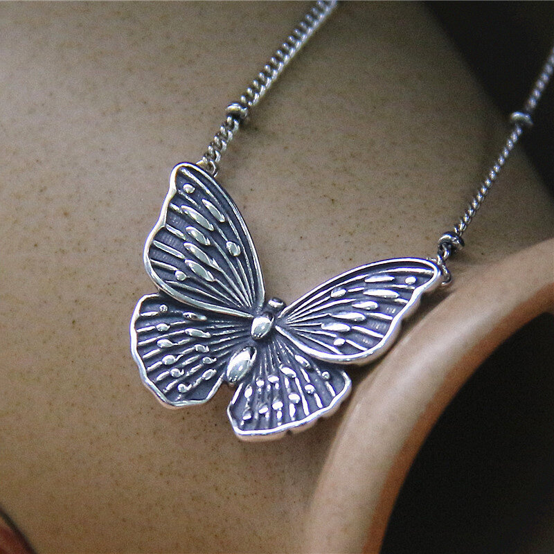 Vintage 925 Sterling Silver Matte Butterfly Women Ring Necklace Clavicle Chain
