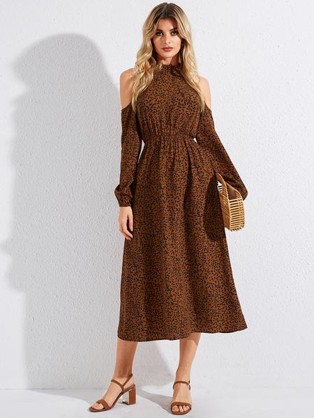 YOINS Camel Print Halter Cold Shoulder Long Sleeves Dress