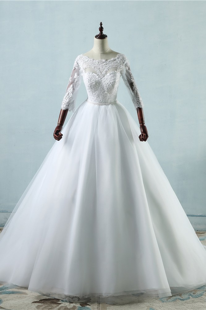 BMbridal Elegant Jewel Tulle Lace Wedding Dress 3/4 Sleeves Appliques A-Line Bridal Gowns On Sale