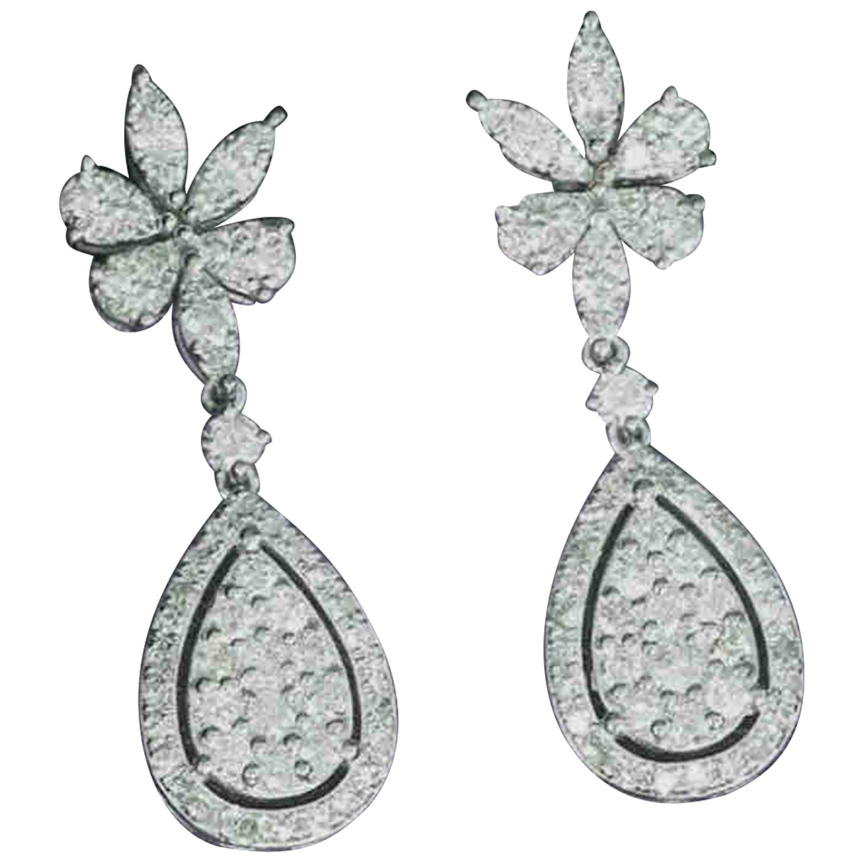 Non Signé / Unsigned Motifs Floraux Silver White gold Earrings for Women \N