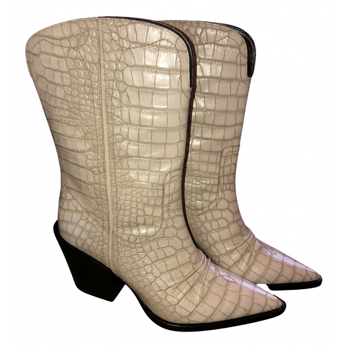 Dorothee Schumacher N White Leather Boots for Women 38 EU