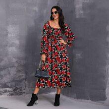 Bell Sleeve Shirred Bodice Rose Floral Dress