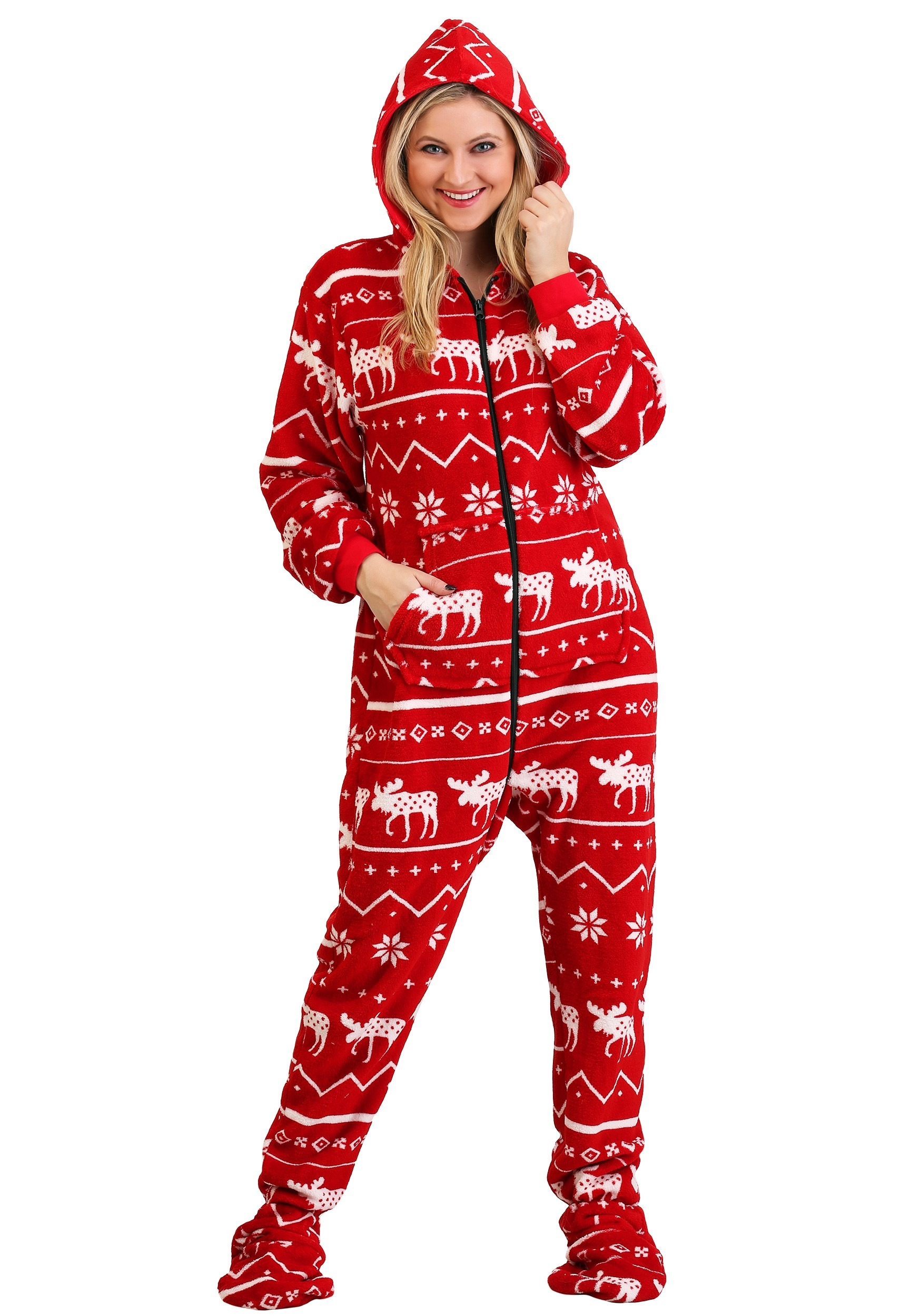 Ugly Christmas Nordic Moose Adult Hooded Onesie