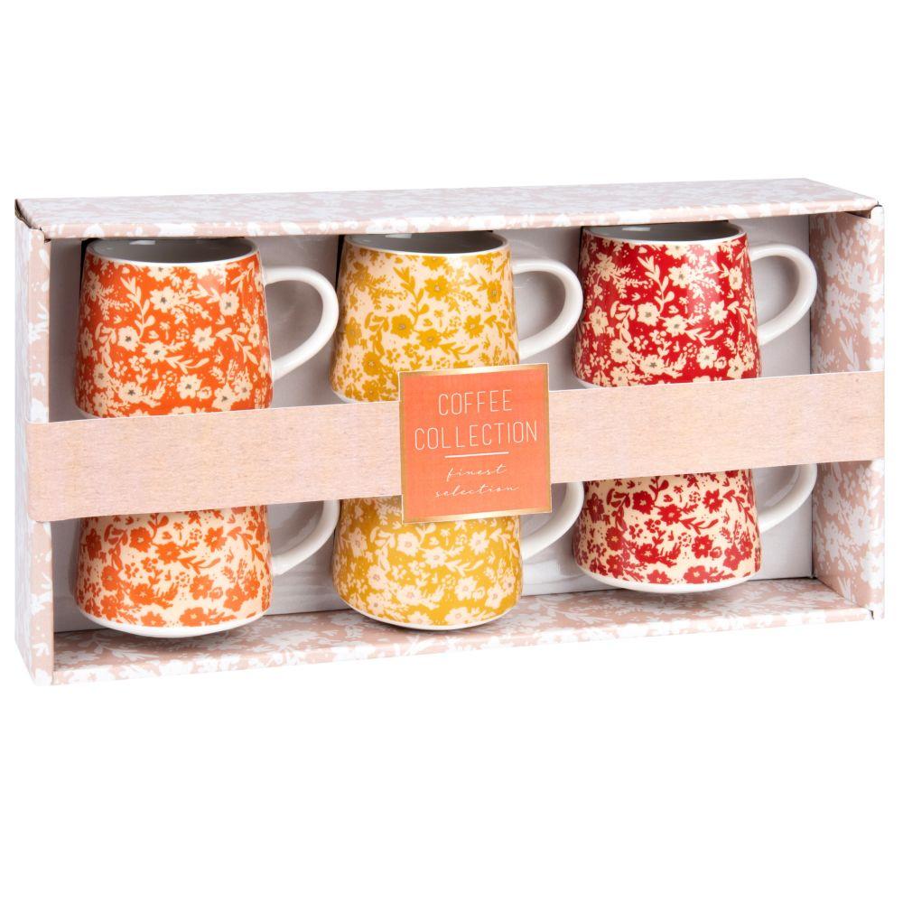 Set aus 6 bunten Porzellantassen mit Blumendruck
