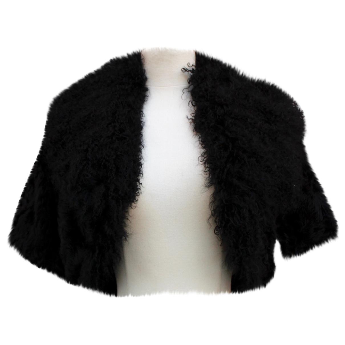 Dolce & Gabbana - Veste   pour femme en agneau de mongolie - noir