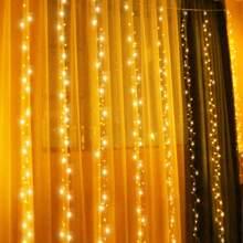 300 Stueck Gluehbirne Vorhang Lichterkette