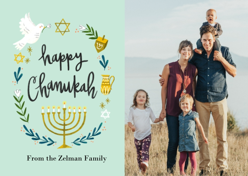Hanukkah Photo Cards 5x7 Cards, Premium Cardstock 120lb with Scalloped Corners, Card & Stationery -Handpainted Chanukah