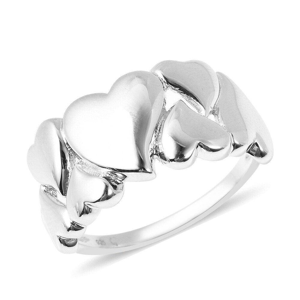 925 Sterling Silver Heart Ring Size 9 - Ring 9 (White - Ring 9 - White)