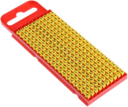 HellermannTyton WIC Snap On Cable Marker, Pre-printed -; +; A; E; Earth; L; N; R; S; T Yellow 2 → 2.8 Dia. Range