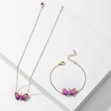 2 Stuecke Halskette mit Schmetterling Dekor & Armband