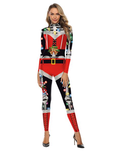 Milanoo La Navidad Papa Noel elastico traje Zentai
