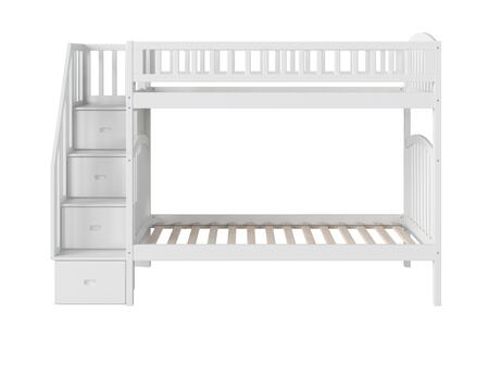 Westbrook Collection AB65602 Twin over Twin Size Staircase Bunk Bed with 3 Built-In Shelves  4 Staircase Storage Drawers and Eco-Friendly Hardwood
